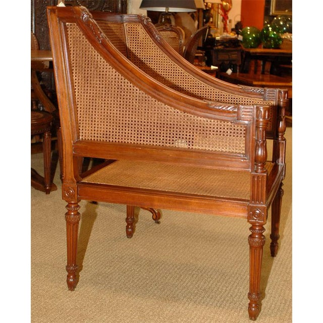 Italian Large Caned Bergere Chair For Sale - Image 3 of 8