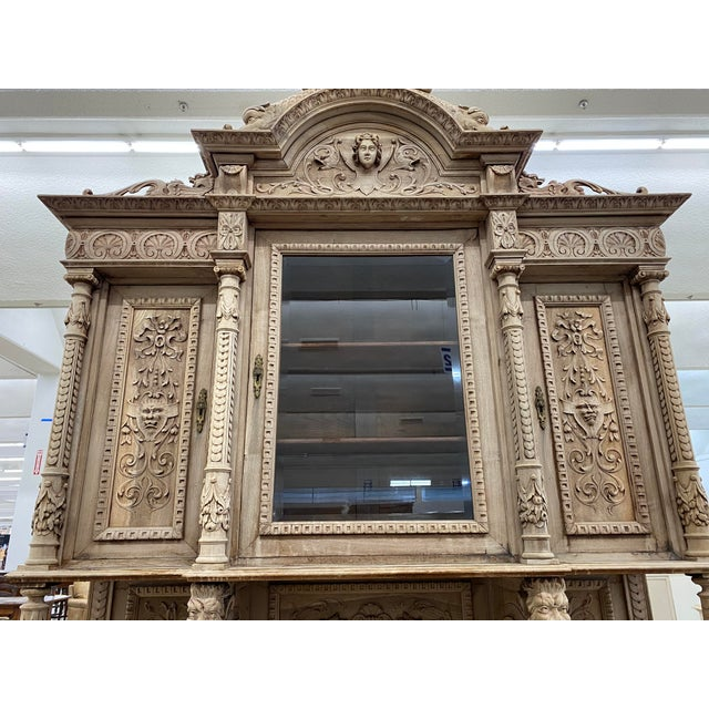 19th Century French Renaissance Bleached Walnut Cabinet For Sale - Image 4 of 13
