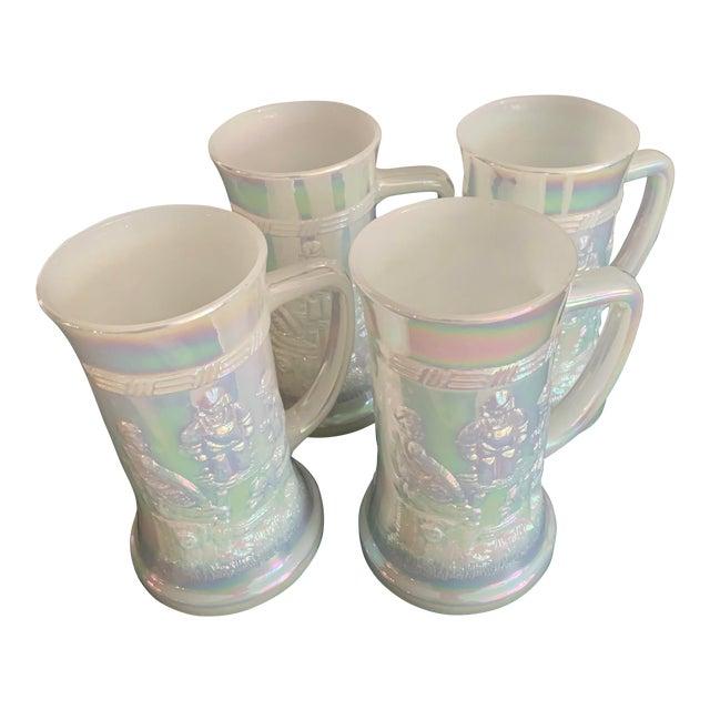 Mid-Century Fenton Federal Iridescent White Carnival Glass Tavern Scene Stein/Mug - Set of 4 For Sale