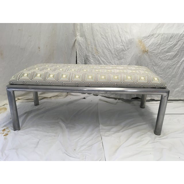 Blue Midcentury Aluminum Bench For Sale - Image 8 of 8