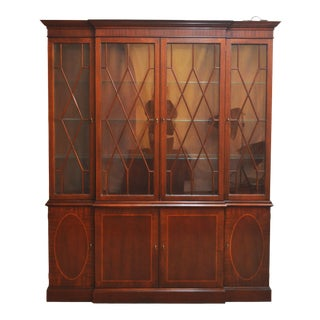 Late 20th Century Baker Historic Charleston Mahogany Inlaid Breakfront For Sale