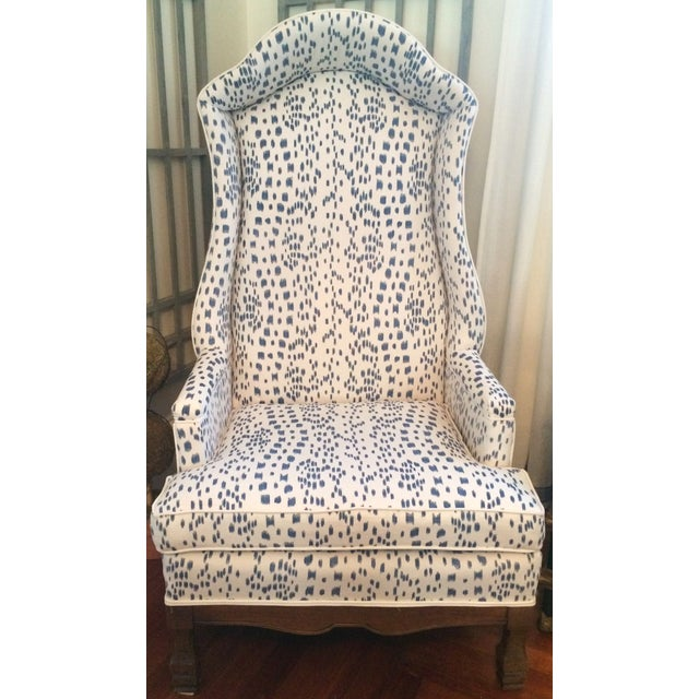 """Truly, a one of a kind piece! This vintage canopied """"Porter's"""" Chair has been freshly updated in Brunschwig and Fils Navy..."""