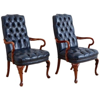 Pair of Regency Style Tufted Blue Library Chairs For Sale
