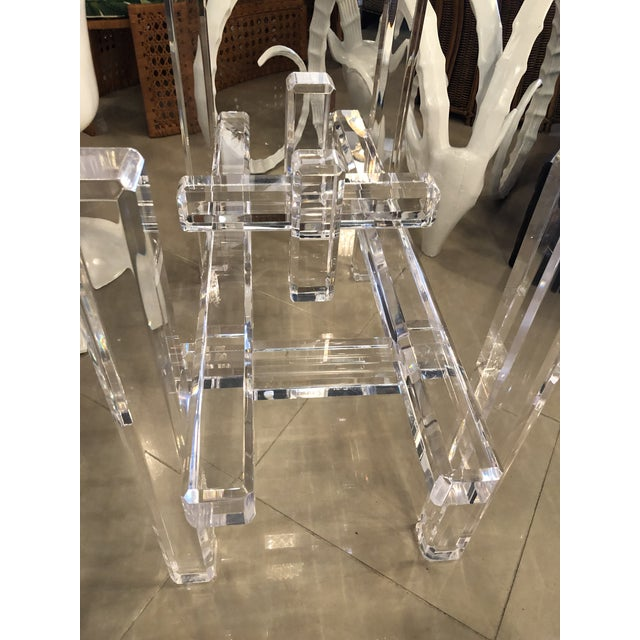 White Vintage Skyscraper Column Architectural Lucite Dining Table Base or Desk For Sale - Image 8 of 11