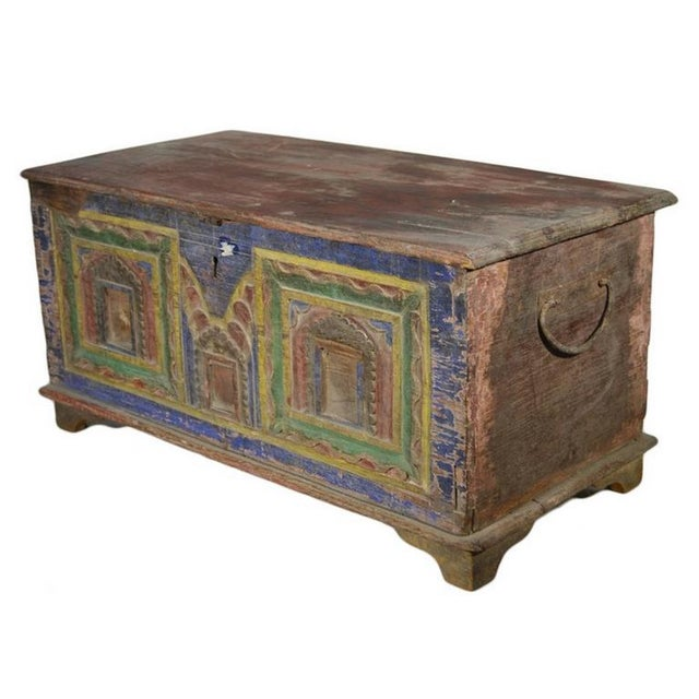 Mid 19th Century Antique Indian Hand-Carved and Painted Trunk with Patina, 19th Century For Sale - Image 5 of 11