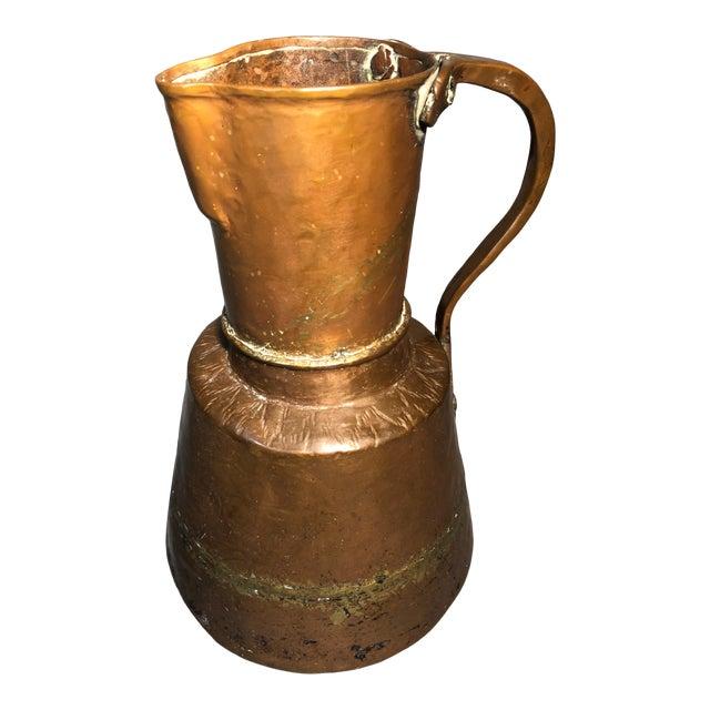 Primitive 19c Pitcher Hand Hammered Copper Brass Large Moonshine Still Jug Kettle Pot Vase For Sale