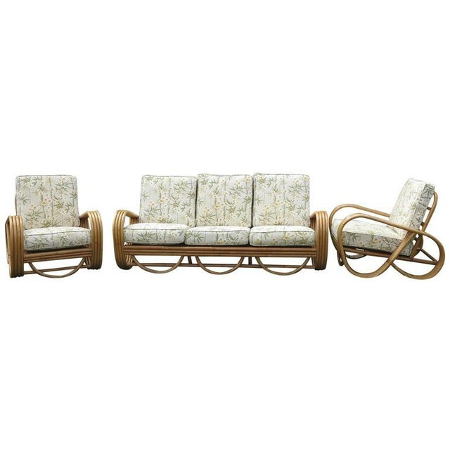Vintage Rattan Living Room Set Reverse Pretzel Sofa & - Set of 3Club Chairs For Sale In West Palm - Image 6 of 6