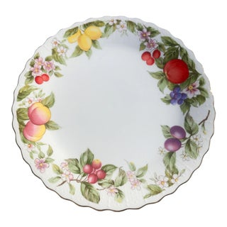 Painted Fruit Motif Torte Plate For Sale