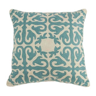 Crewel Turquoise Pillow For Sale