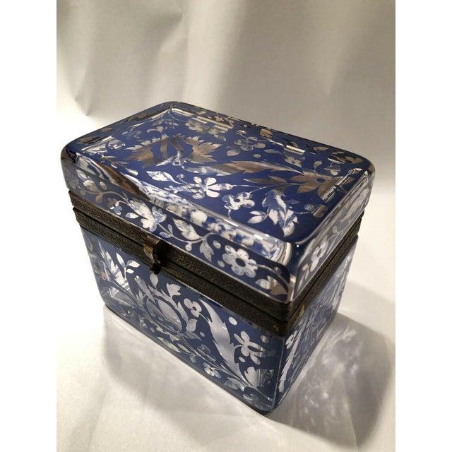 Antique Bohemian Glass Sugar Casket/ Jewelry/Vanity/Trinket Box For Sale - Image 10 of 13