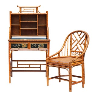 Vintage Rattan Chippendale-Style Writing Desk With Chair