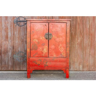 Floral Mongolian Painted Armoire Cabinet Preview