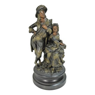 Antique European Pottery Statuary Romantic Couple Polychrome Finish For Sale