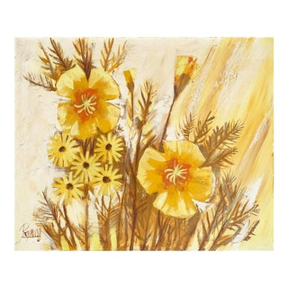 'Large Oil of California Poppies', 1970s For Sale