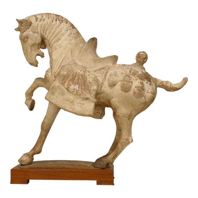 Asian Chinese Tang Dynasty Unglazed Clay Prancing Horse For Sale