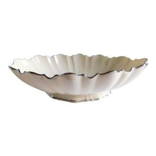 Lenox Ivory Scalloped Symphony Centerpiece Oval Serving Bowl Platinum Trim For Sale