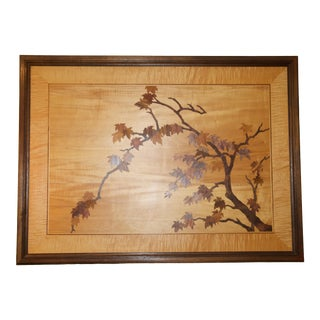 Vintage Mixed Exotic Wood Framed Marquetry Tree For Sale