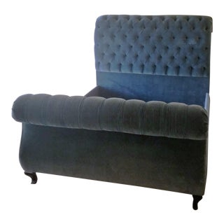 Custom Teal Blue Velvet Queen Size Sleigh Bedframe For Sale
