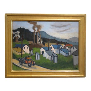 Framed Ashcan School Oil on Canvas Painting, 1947