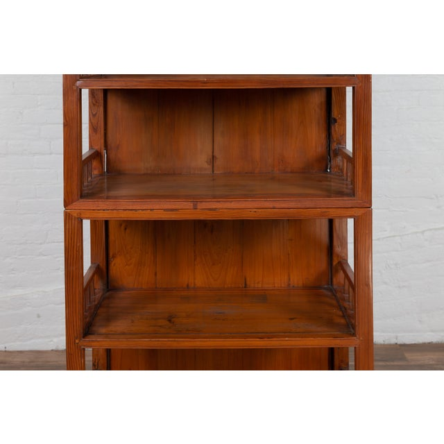 Vintage Chinese Two-Part Elmwood Bookcase With Pillar-Shaped Strut Motifs For Sale - Image 9 of 13