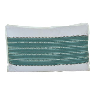 Vintage Japanese Green & White Obi Lumbar Pillow With Decorative Trim For Sale