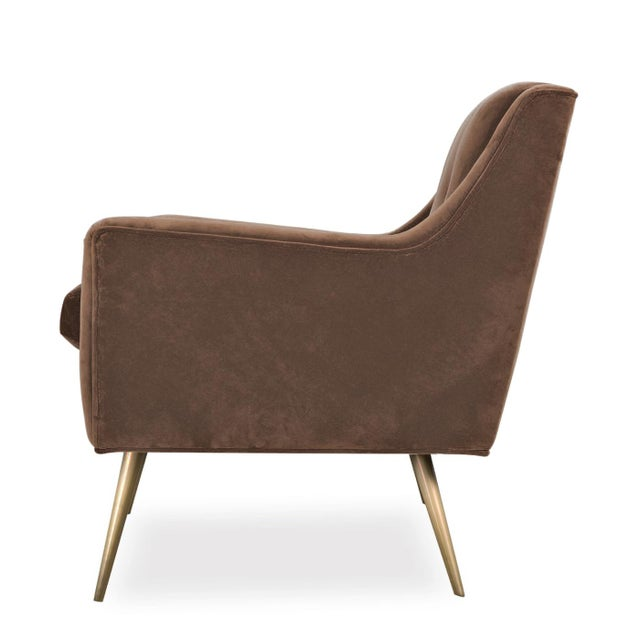 Contemporary Tan Doeskin Cotton Velvet Upholstered Chairs With Brass Legs - a Pair For Sale - Image 3 of 5