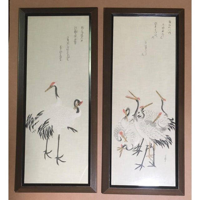 """Silk Mid-Century Painted Silk Panels: """"Japanese Cranes"""" - a Pair For Sale - Image 7 of 7"""