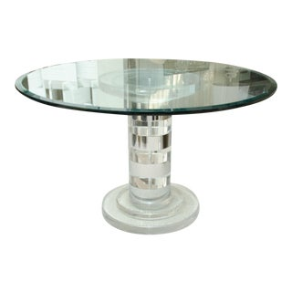 Mid-Century Round Lucite Center/Dining Table For Sale