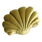Image of Small Shell Pillow - Chartreuse Velvet For Sale