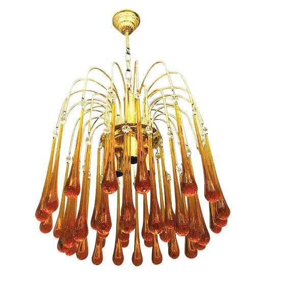 Superior paolo venini chandelier murano glass orange drops gold superior paolo venini chandelier murano glass orange drops gold brass frame 1960 decaso aloadofball Images