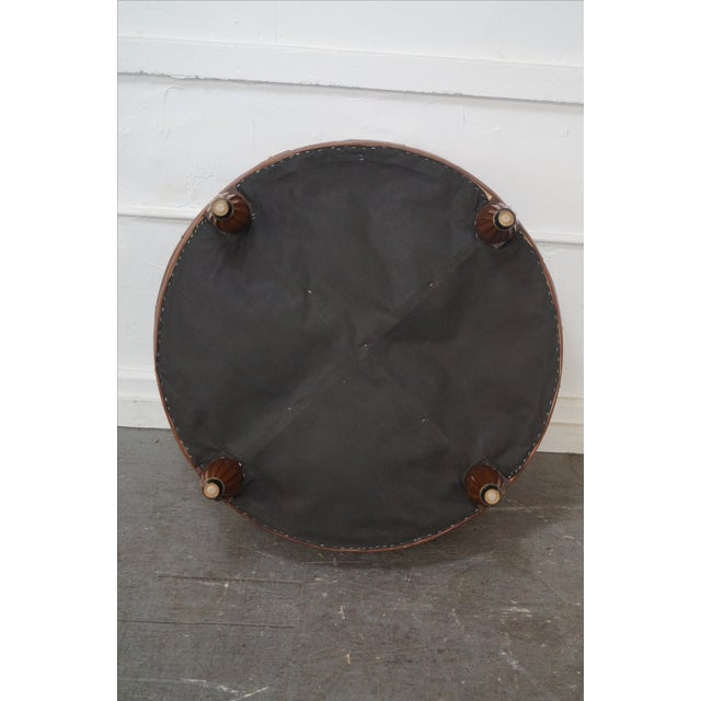 Quality Brown Tufted Leather Chesterfield Ottoman - Image 8 of 10