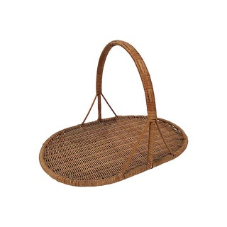 Flat Rattan Flower Basket For Sale