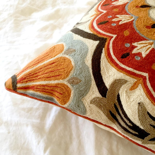 Large Suzani Crewelwork Pillow - Image 3 of 7
