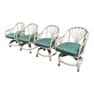Vintage Rattan Swivel Arm Chairs Set of 4 For Sale