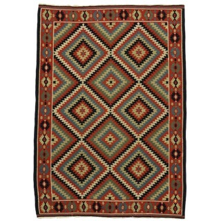 Vintage Turkish Kilim Rug With Southwest Style Flat-Weave Rug - 6′11″ × 9′8″