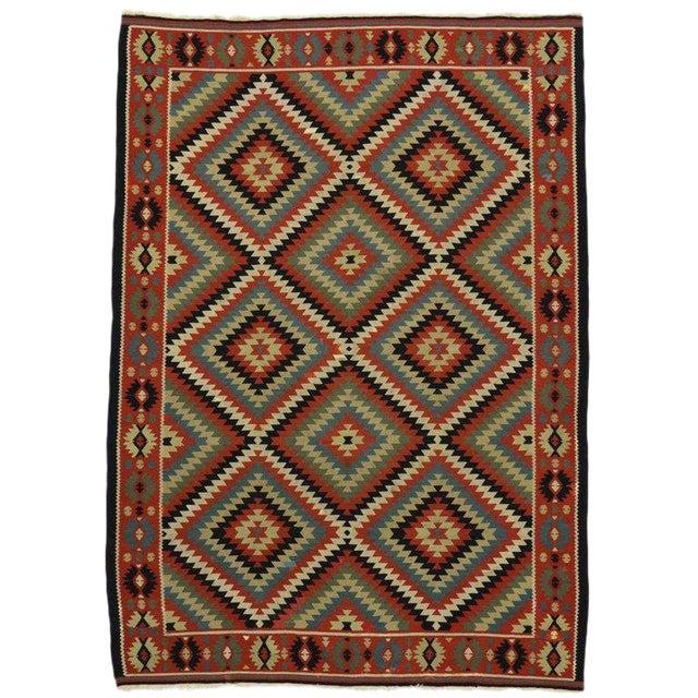 Vintage Turkish Kilim Rug With Southwest Style Flat-Weave Rug - 6′11″ × 9′8″ For Sale