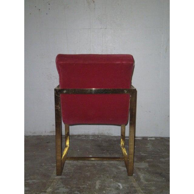 M. Baughman Cherry Velvet & Brass Chairs- A Pair - Image 6 of 8