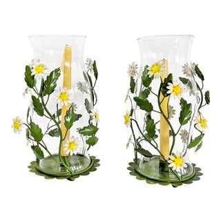 Vintage Metal Tole Daisy Flower and Hurricane Glass Candle Holders - a Pair For Sale