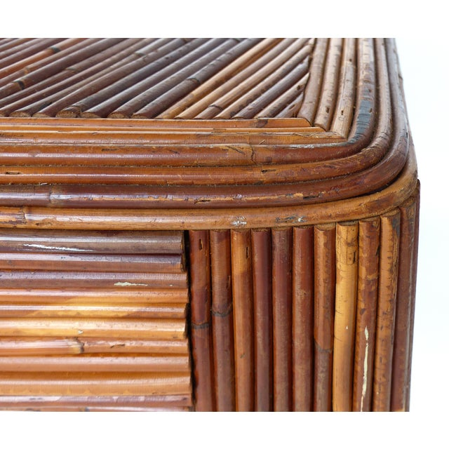 Brown Pencil Reed Mid-Century Modern Coffee Table in the Style of Gabriella Crespi For Sale - Image 8 of 11