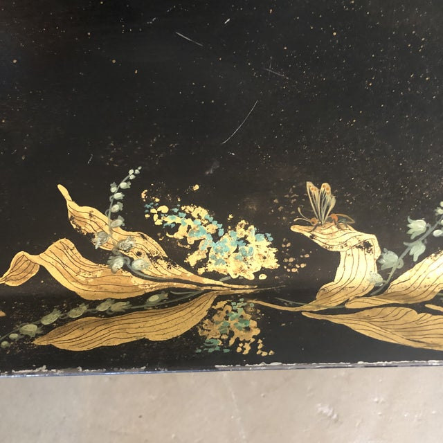 1960s Tole Butler Tray and Stand Flora Fauna Butterfly Motif For Sale In Minneapolis - Image 6 of 13