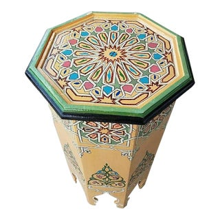 Beige Octagonal Hand Painted Table For Sale