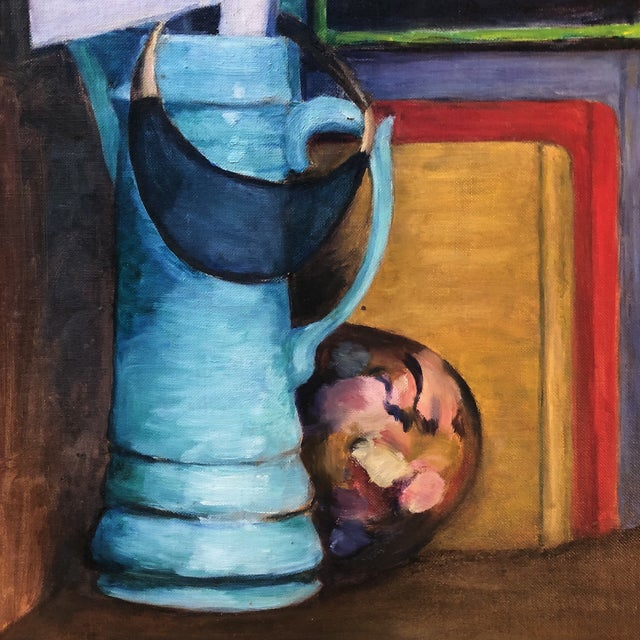 """1960s Original Vintage Modernist Still Life Painting """"The Catchall"""" For Sale - Image 5 of 8"""