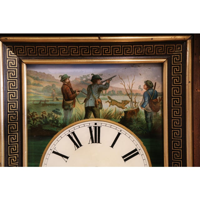 Metal 19th Century French Napoleon III Hand-Painted Wall Clock With Hunt Scene For Sale - Image 7 of 13