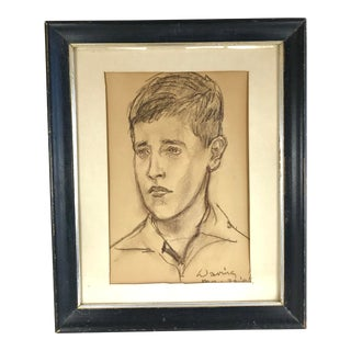Vintage 1960's Framed Sketch of Boy For Sale