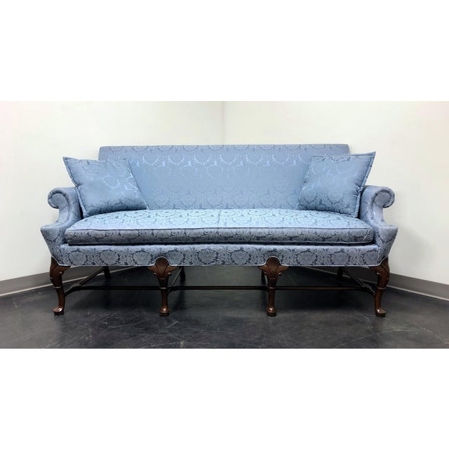 Hickory Chair Queen Anne Sofa Settee in Blue Brocade For Sale - Image 12 of 13
