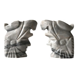 Aztec God Marble Bookends - A Pair