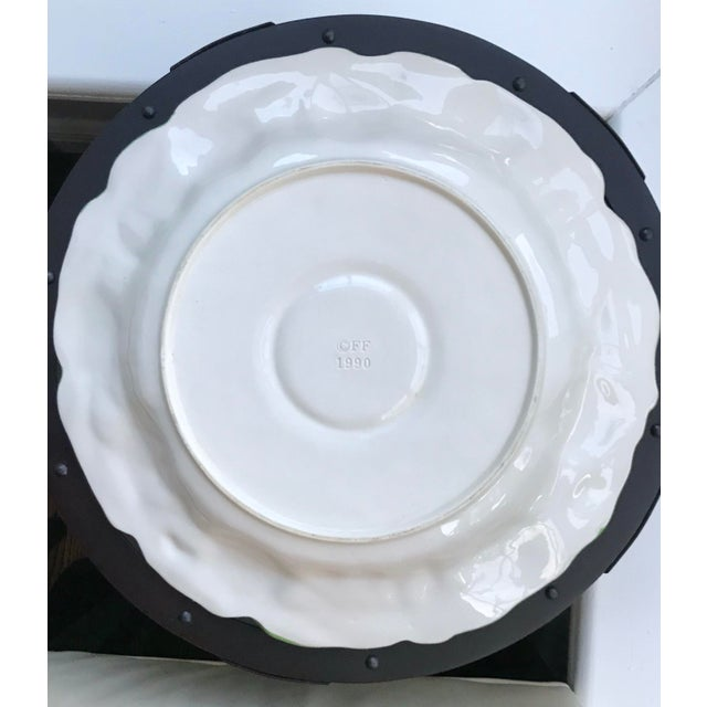 "Vintage Vintage 1990 Fitz and Floyd Discontinued ""Fruit Fair"" Serving Platter and Condiment Bowl - a Pair For Sale - Image 11 of 13"