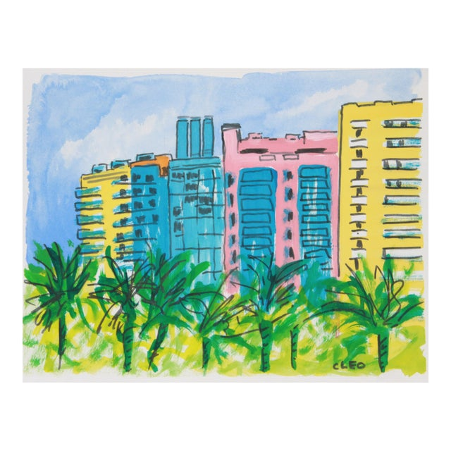 Miami Beach Landscape Art Deco City Painting by Cleo For Sale