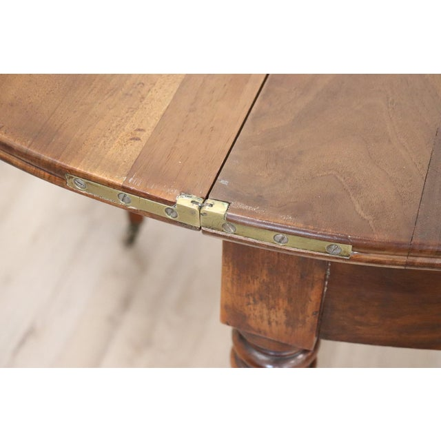 19th Century French Walnut Demilune Table or Dining Table For Sale - Image 11 of 13