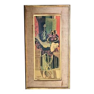 Vintage Cubist Modern Art Reproduction Braque Large 1950's For Sale